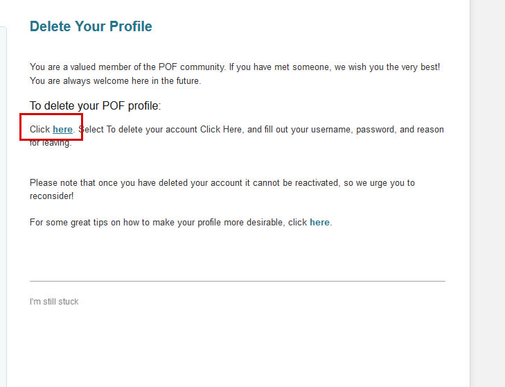 How To Delete Pof Profile On App